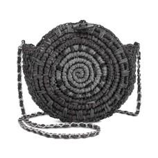 INC International Concepts Straw Circle HandBag Crossbody (Black)