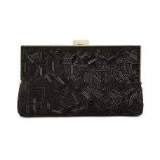 INC International Concepts Trayci Glass Beaded Clutch Bag (Black)