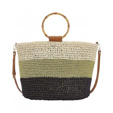 INC International Concepts Willoww Women's Stripe Colorblock Woven Straw Handbag Tote (Light Beige/Multi)