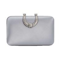 INC International Concepts Women's Danyele Satin Clutches Handbags, Gray/Silver