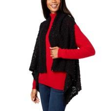 INC International Concepts Women's Draped Popcorn-Knit Vest (Black)