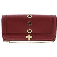 INC International Concepts Womens Korra Faux Leather Grommet Clutch Handbag Red Small