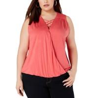 INC International Concepts Women's Plus Size Lace-Up Surplice Blouse Tops