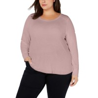 INC International Concepts Women's Plus Size Ribbed Shirttail Pullover Blouse Tops