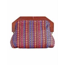 INC Womens Miinie Wood Woven Clutch Handbag Pink Small