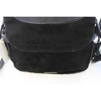 INC Womens Sianna Faux Leather Tassel Saddle Handbag Black Medium
