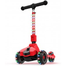 Jetson Saturn Folding 3-Wheel Kick Scooter with Light-Up Stem & Deck, Lean-to-Steer Design with Sturdy Wide Deck & Adjustable Height, for Kids 3 & Up