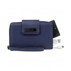 Kenneth Cole Reaction Never Let Go Tech Tab Wristlet Wallet with Charger (Dark Blue)