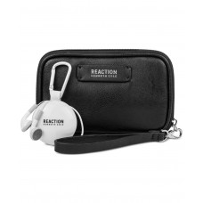 Kenneth Cole Reaction Take Charge Wristlet Wallet with Retractable Earbuds (Black)