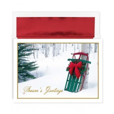 Masterpiece Studios Holiday Collection 16 Cards / 16 Foil Lined Envelopes, Winter Sled