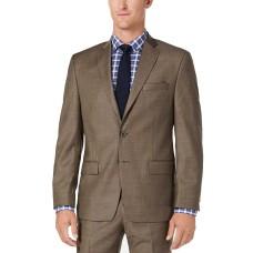 Michael Kors Classic/Regular Stretch Sharkskin Wool Suit (Brown, 38R/M37)