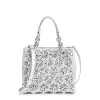 Michael Kors Flora Burst Satchel North South Silver Satchel Handbag