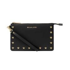 Michael Kors Medium Gusset Wristlet Wallet Black Leather Bag