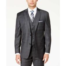 Michael Kors Men's Classic-Fit Dark Windowpane Vested Suit (Gray & Blue, 40 REG 33W)