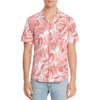 Michael Kors Men's Slim-Fit Stretch Striped Palm-Print Seersucker Camp Shirts