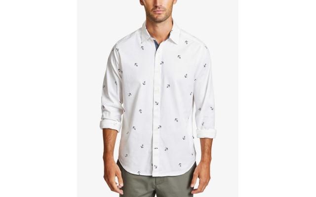 Men's Mini Anchor-Print Shirt (White, X-Large)