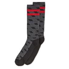 Perry Ellis Men's Casletic Printed Socks (Black/Red)