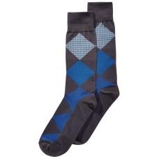 Perry Ellis Men's Microfiber Printed Dress Socks (Gray/Blue, 7-12)