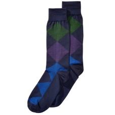 Perry Ellis Men's Microfiber Printed Dress Socks (Navy)