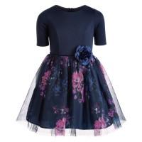 Pink & Violet Big Girls Floral-Print Ballerina Dress