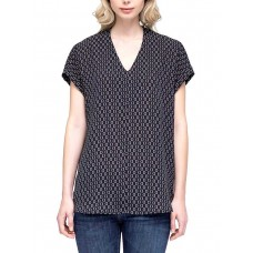Pleione Henley Blouse Print Shirt With Front Chest Pocket