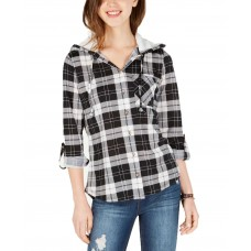 Polly & Esther Juniors' Plaid Faux Fur-Trimmed Hoodies