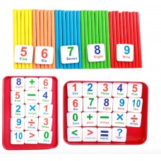 Preschool Math Set Toy With Colorful Counting Sticks, Number Squares and Metal Box – Wooden Montessori Math Game Set for Cognitive Development of Children, Toddlers and Pre-K