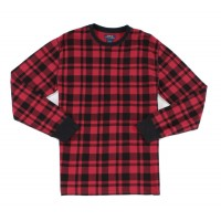 Ralph Lauren Men's Plaid Waffle-Knit Thermal Crew (Red, S)