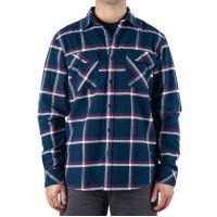 Rip Curl Men's Coffs Regular-Fit Plaid Flannel Shirt (Navy, Medium S/S)