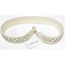 Salvatore Ferragamo Hand Made Leather Strap White enchanted with Gold Hardware
