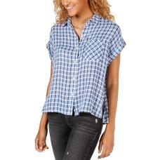 Sanctuary Mod Short-Sleeve Shirt (Blue Plaid, L)