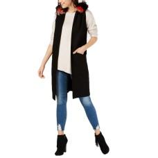Steve Madden Women's Faux Fur Trim Hooded Vest (Black, XS/S)
