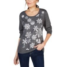 Style & Co Petite Snowflake Graphic-Print Sweatshirt (Deep Black, PS)