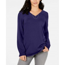 Style & Co Pleated-Sleeve Tunic Sweater (Dark Purple, XS)