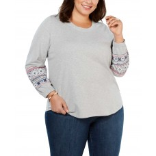 Style & Co Plus Size Cotton Embroidered-Sleeve Sweatshirt