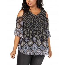 Style & Co Plus Size Floral-Print Tunic (Black, 3X)