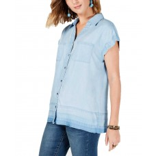 Style & Co Raw-Hem Seam-Striped Shirt (Ice Wash, L)