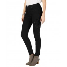 Style & Co Velvet-Applique Curvy-Fit Skinny Jeans (Black Rinse, 16)