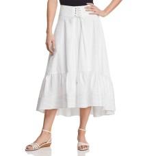T Tahari Irena Ruffled Midi Skirt (White, 12)
