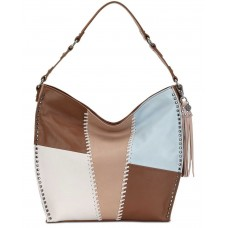 The Sak Women's Silverlake Leather Tobacco Whipstitch Hobo Bags, Beige/Patch/silver