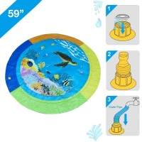The Season Toys 59″ Splash Water Play Mat For Little Kids & Toddlers, Water Sprinkler, Water Inflatable Pool Summer Fun Outdoor Water Toys