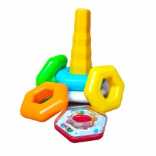 The Season Toys Hexagonal Rattle Ring Stacking Toy for Education Fun and Homeschooling of Babies, Toddlers, Pre-k and Kindergarten