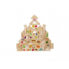The Season Toys Montessori Wooden Blocks 110 Pieces Set, Cognitive Developmental Building Blocks – Education Game with Fruits, Vegetables, Animals for Kindergarten, Kids and Preschoolers