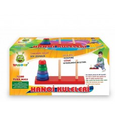 The Season Toys Towers of Hanoi Natural Wooden Toy for Skill Development, Pre-School Education and Homeschooling of Toddlers, Pre-K and Kindergarten Children