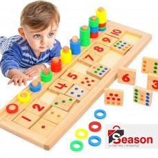 The Season Toys Wooden Montessori Math Board – Cognitive Development Education Aids for Kindergarten and Homeschooling Preschoolers and Pre-K Toddlers and Children