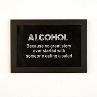 Two's Company 51121-B9-12 Alcohol-Because No Great Story Ever Started with Someone Eating A Salad Framed Wall Art, Black