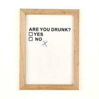Two's Company 51121-Wd11-22 Are You Drunk? Yes No Framed Wall Art, Wood