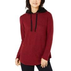 Ultra Flirt Women's Marled Faux Sherpa-trimmed Hoodie (Red/Black, L)
