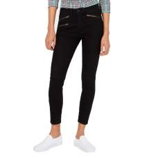 Vanilla Star Juniors' Moto-Zip High-Rise Skinny Jeans (Black)