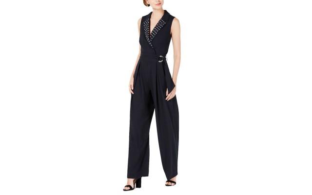 Juniors' Embellished Belted Jumpsuit (Black/White, XS)